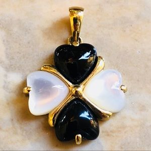 Jewelry - 10k Solid Gold Onyx Mother Of Pearl Pendant Estate